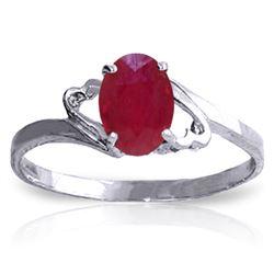 Genuine 1.15 ctw Ruby Ring Jewelry 14KT White Gold - REF-24F5Z