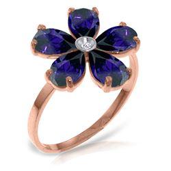 Genuine 2.22 ctw Sapphire & Diamond Ring Jewelry 14KT Rose Gold - REF-42Z2N