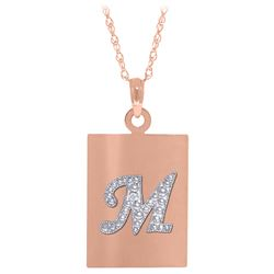 Genuine 0.01 ctw Diamond Anniversary Necklace Jewelry 14KT Rose Gold - REF-68A8K