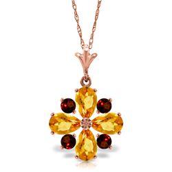 Genuine 2.43 ctw Citrine & Garnet Necklace Jewelry 14KT Rose Gold - REF-29W7Y