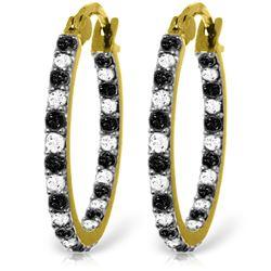 Genuine 0.81 ctw White & Black Diamond Earrings Jewelry 14KT Yellow Gold - REF-116W6Y
