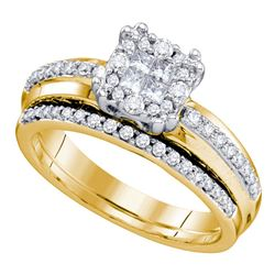 0.51 CTW Princess Diamond Soleil Bridal Engagement Ring 14KT Yellow Gold - REF-89Y9X