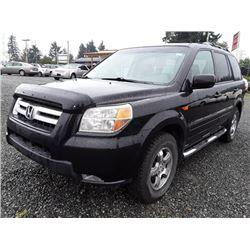 K6 -- 2008 HONDA PILOT SE SUV, BLACK, 153838 KMS DEC'S, OOP QB
