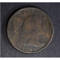 1794 LARGE CENT, GOOD+ a few rim hits