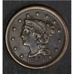 1851 LARGE CENT, AU dark