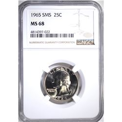1965 SMS WASHINGTON QTR NGC MS68