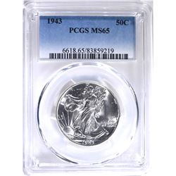 1943 WALKING LIBERTY HALF PCGS MS-65