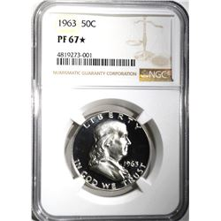 1963 FRANKLIN HALF DOLLAR NGC PF67 *