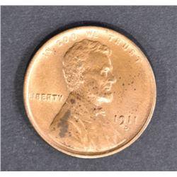 1911-D LINCOLN CENT AU/BU