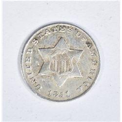 1851 3 CENT SILVER AU MARKS