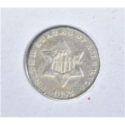 1853 3 CENT SILVER AU
