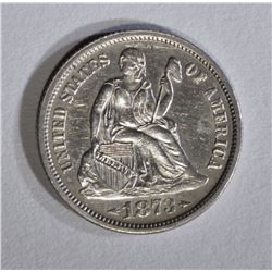 1873 ARROWS SEATED LIBERTY DIME CH AU