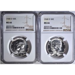 2-1968-D KENNEDY HALF DOLLARS, NGC MS-66