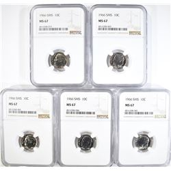 5-1966 SMS ROOSEVELT DIMES NGC MS67