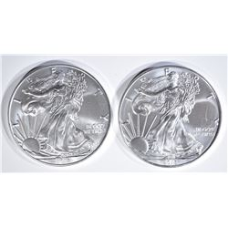2-GEM BU 2018 AMERICAN SILVER EAGLES
