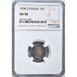 1908 SILVER CANADA 10 CENTS  NGC AU 58