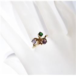 14kt GOLD RING - 3 COLORED STONES