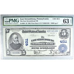 1902 $5 NATIONAL CURRENCY  PMG 63 EPQ