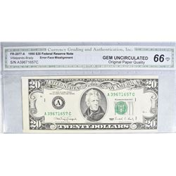 1990 $20 FEDERAL RESERVE NOTE FR-2077-A