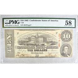 1863 $10 CONFEDERATE STATES OF AMERICA T-59