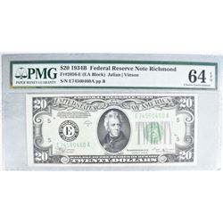 1934B $20 FEDERAL RESERVE NOTE RICHMOND