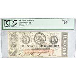1863 $100 STATE OF GEORGIA  PCGS 63