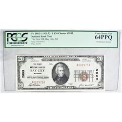 1929 TY.1 $20 NATIONAL CURRENCY  PCGS 64PPQ