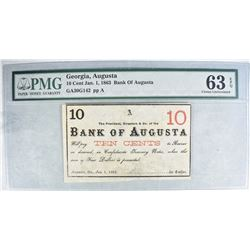 1863 10 CENT BANK OF AUGUSTA GEORGIA
