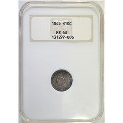 1845 HALF DIME, NGC MS-63 NICE
