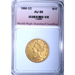 1890-CC $10.00 GOLD LIBERTY, WHSG AU/BU