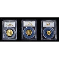 2016-W 3-COIN GOLD 100th ANNIV SET: