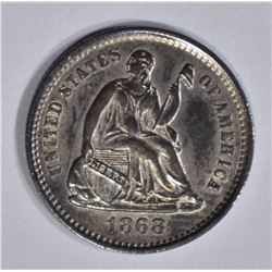1868-S SEATED LIBERTY HALF DIME  GEM BU