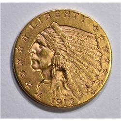 1915 $2 1/2 GOLD INDIAN HEAD  CH BU