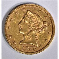 1855 $5 GOLD LIBERTY  BU