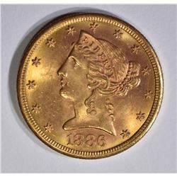1886-S $5 GOLD LIBERTY  GEM BU
