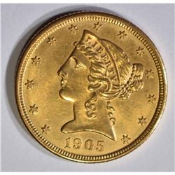 1905 $5 GOLD LIBERTY  GEM BU