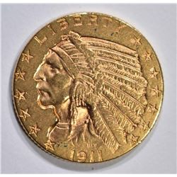 1911-D $5 GOLD INDIAN HEAD  BU