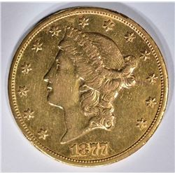 1877-CC $20 GOLD LIBERTY  AU/BU