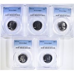 5 1971-S WASHINGTON QUARTERS PCGS PR-69