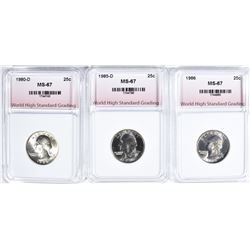 3-WASHINGTON QTRS GRADED WHSG