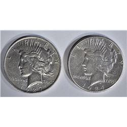 1924-S XF & 27-D AU PEACE DOLLARS