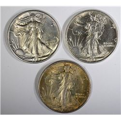 3-1944-S CH BU WALKING LIBERTY HALVES, BETTER DATE