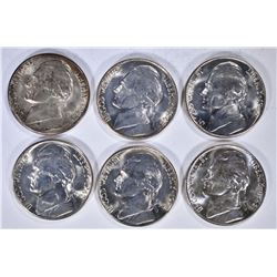 6-GEM BU 1942-S JEFFERSON SILVER NICKELS