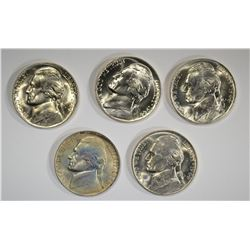 5-BU 1944-P SILVER JEFFERSON NICKELS