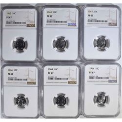 6-ROOSEVELT DIMES NGC PF67
