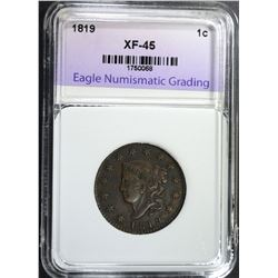 1819 LARGE CENT, ENG XF/AU