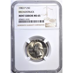 1983-P WASHINGTON QUARTER MINT ERROR, NGC MS-65