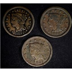 LOT OF 3 LARGE CENTS: