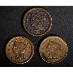 1853 FINE & 2-54 1-VG & 1-FINE LARGE CENTS