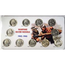 GEM BU JEFFERSON WAR NICKEL 11-COIN SET